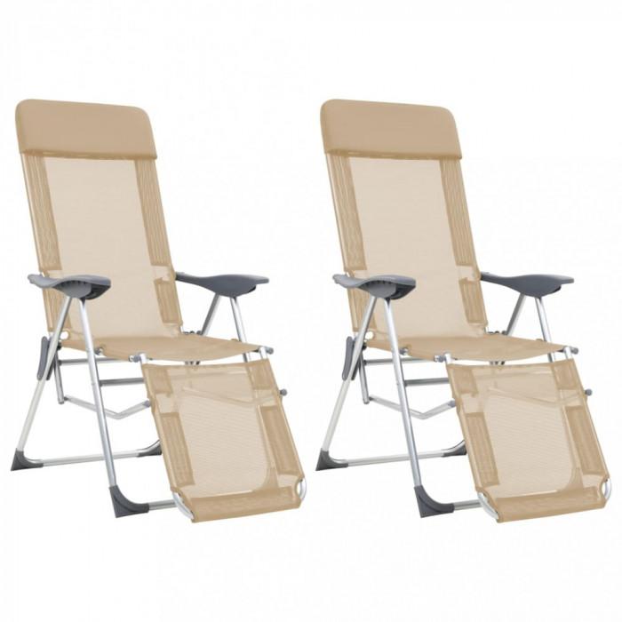 vidaXL Scaune camping pliabile, 2 buc, crem, aluminiu, suport picioare