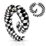 Expander fals pentru ureche, din acrilic, spirală cu tablă de şah negru cu alb