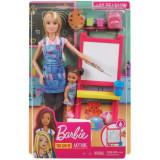 Barbie Cariere Set Mobilier Cu Papusa Profesoara De Pictura, Mattel