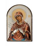 Icoana Maica Domnului sapte sabii 4.2x5.8 cm Cod Produs 1753