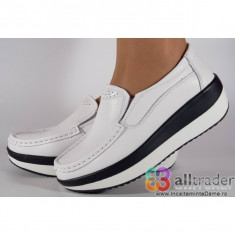 Pantofi albi talpa convexa piele naturala dama/dame/femei (cod AC020-15)