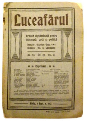 Revista LuceafarulNr. 28Volumul II1 sept. 1912 foto