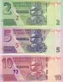 Bancnota Zimbabwe 2, 5 si 10 Dolari 2019/20 - PNew UNC ( hibrid , set x3 )