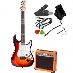 Set chitara electronica Madison Sunbrust, artar, amplificator, tuner, 6 corzi