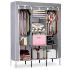 Dulap Textil Portabil pentru Haine si Accesorii cu 8 Rafturi si Suport Umerase, Cadru Metalic, Culoare Gri foto