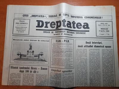 """dreptatea 4 aprilie 1990-art""""bilantul tandemului iliescu-roman dupa 100 de zile"""" foto"""