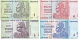 Bancnota Zimbabwe 10 - 100 Trillion Dollars 2008 - P88-91 (cele mai multe 0-uri)