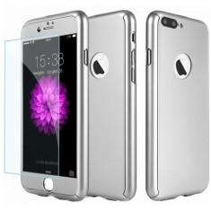 Husa Full Cover (fata + spate + geam sticla) pentru Apple iPhone 7 Plus, Silver