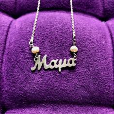 Lantisor de argint placat cu aur, perle naturale, medalion Maya