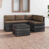 VidaXL Set mobilier de grădină paleți cu perne 5 piese lemn masiv pin