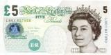Bancnote din ANGLIA - 2 x 5 lire 2002 inseriate - aUNC