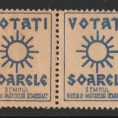 1946 Romania - Streif 4 vignete Votati Soarele, Blocul Partidelor Democrate, BPD