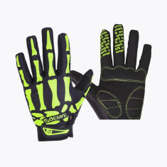 Manusi protectie rezistente la vant, termice, touchscreen, model oase-schelet, marime L, culoare negru cu verde