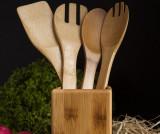 Set 5 ustensile de bucatarie si suport Ravioli - bambum, Crem