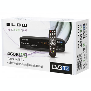 Receptor Receiver TV Digital HD Terestru DVB T2 Blow 4606HD cu Telecomanda, Iesire SCART, HDMI si Audio