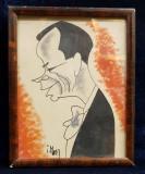 CARICATURA UNUI DOMN CU PAPION , DESEN ORIGINAL IN PENITA SI CERACOLOR , SEMNAT DE IOSIF ROSS 1899 - 1974 , PERIOADA INTERBELICA