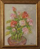 TRANDAFIRI 2017 - pictura tablou ulei pe panza - Ionescu Aurelia - pictor roman, Flori, Impresionism