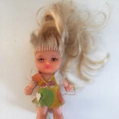 Papusa papusica Aradeanca Dica, jucarie romaneasca veche, 10 cm, anii 80, blonda