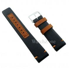 Curea de ceas 22mm 24mm neagra insertii maro Matteo Ferari WZ1615
