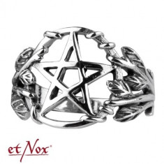 Inel argint Pentagrama gotica foto