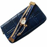 Cumpara ieftin Pachet portofel elegant de dama cu fermoar design caramida albastru inchis + ceas albastru cu inchizatoare tip bratara