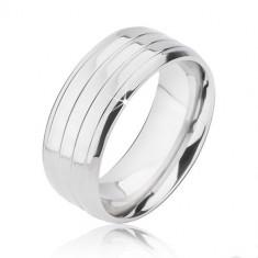 Inel din titan, argintiu - trei dungi şi margini teşite - Marime inel: 67