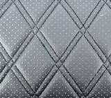 Material piele eco Negru cu gaurele model romb / cusatura Neagra