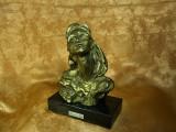 Sculptura bronz, Modernist, bust femeie, semnata