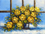 Trandafiri galbeni in vaza/Pictura originala in tehnica cutit paleta, Flori, Ulei, Impresionism