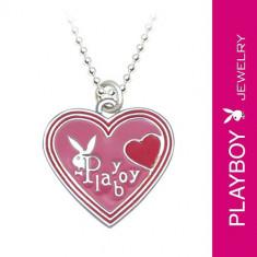 Colier PLAYBOY - inimă roz smălțuită cu un iepuraș