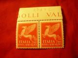 Serie 1 val. Italia 1930 Pegasus - in pereche cu margine coala, 2x10Lire, Nestampilat