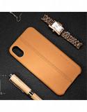 Cumpara ieftin Carcasa protectie spate din piele ecologica si plastic pentru iPhone X 5.8 inch, Albastru, Maro, Usams