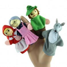 Set 4 personaje scufita rosie mascote degete papusi degete teatru papusi logoped
