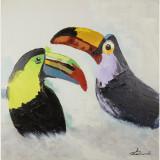 Doi tucani- pictura in ulei OP-25, Pasari, Realism