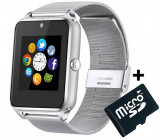 Ceas Smartwatch cu Telefon iUni GT08s Plus, Curea Metalica, Touchscreen, Camera, Notificari, Silver + Card MicroSD 4GB Cadou