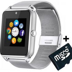 Ceas Smartwatch cu Telefon iUni GT08s Plus, Curea Metalica, Touchscreen, Camera, Notificari, Silver + Card MicroSD 4GB Cadou