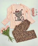 Cumpara ieftin Pijama dama ieftina bumbac cu pantaloni animal print si bluza cu maneca lunga roz cu imprimeu HK