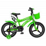Bicicleta Copii Carpat C1600A, Roti 16inch, Frane C-Brake, Roti Ajutatoare cu LED (Verde)