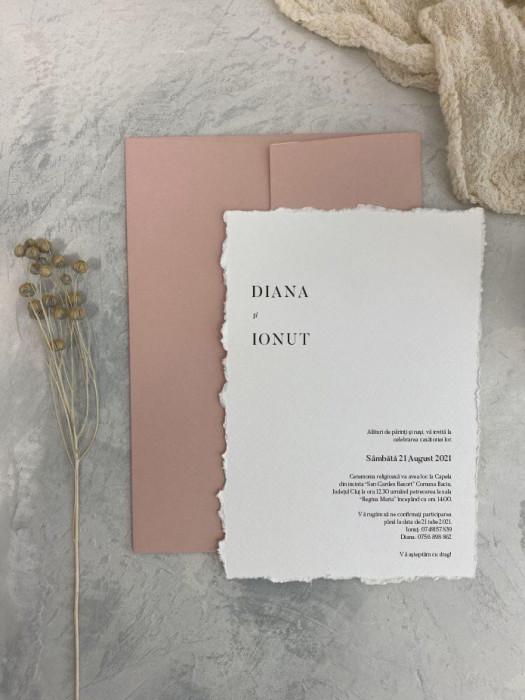 Invitatie nunta, hartie de calc, 90g/mp, dim. 114×162 cm (C6), personalizat, OPIS161