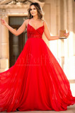 Rochie lunga de ocazie rosie cu paiete