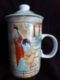 Cana ceai cu infuzor si capac portelan China, gheise, marcaj -C3