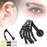 Piercing din oțel pentru ureche sau sprânceană, mână de schelet, culori diverse - Culoare: Auriu