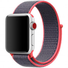 Curea pentru Apple Watch 40mm iUni Woven Strap, Nylon Sport, Purple-Electric Pink