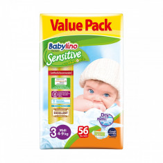 Scutece Babylino Sensitive Economy, N3, 4-9 kg, 56 Buc.