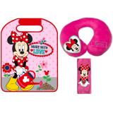 Set 3 piese accesorii auto - Perna gat, Protectie centura de siguranta si Aparatoare pentru scaun Minnie Disney Eurasia CRV0001 B3103318