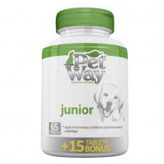 Supliment nutritiv pentru caini Petway Junior, 65 tablete + 15 bonus
