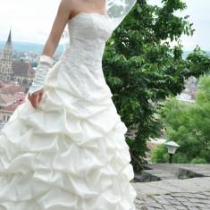 Rochie de mireasa crem cu corset , marime S, Rochii de mireasa printesa