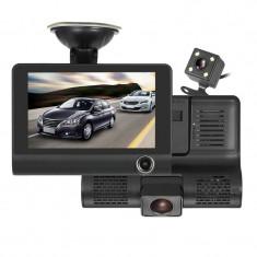 Camera auto DVR, 3 camere incluse, fata, spate si interior, ecran 4 inch