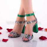 Sandale dama din piele naturala, verde-color cu toc de 10cm - NAA57VERDE