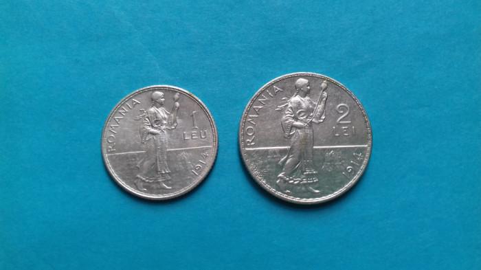 Lot moneda argint 1 leu/2 lei 1914